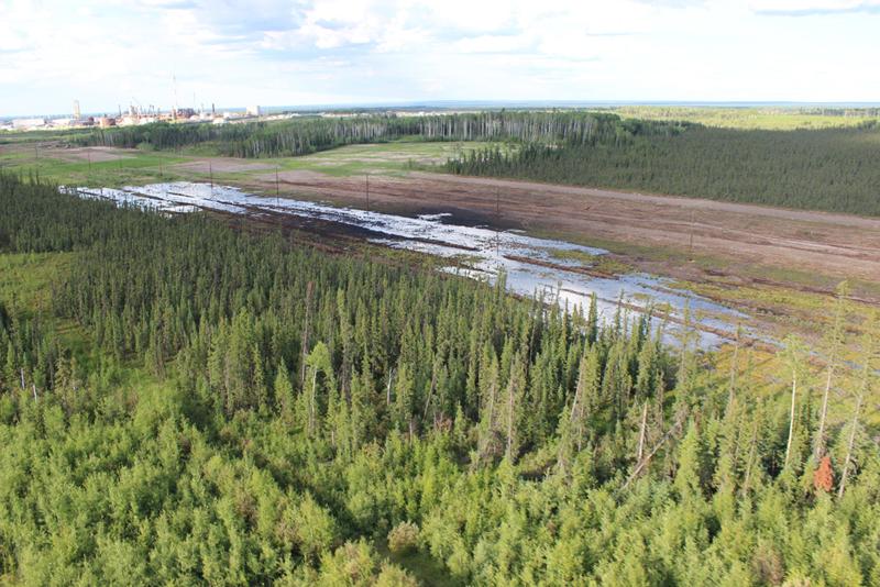 Aerial of Nexen pipeline spill - July 2015