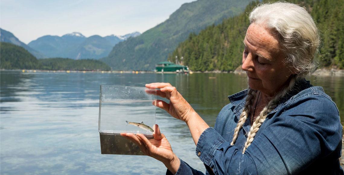 Photo of Alexandra Morton holding juvenile salmon by April Bencze