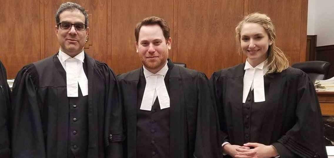 Saskatchewan carbon reference hearing Ecojustice lawyers L-R Amir Attaran, Joshua Ginsberg, Danielle Gallant