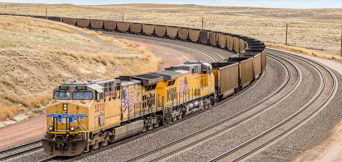 Coal train in Wyoming Powder River Basin