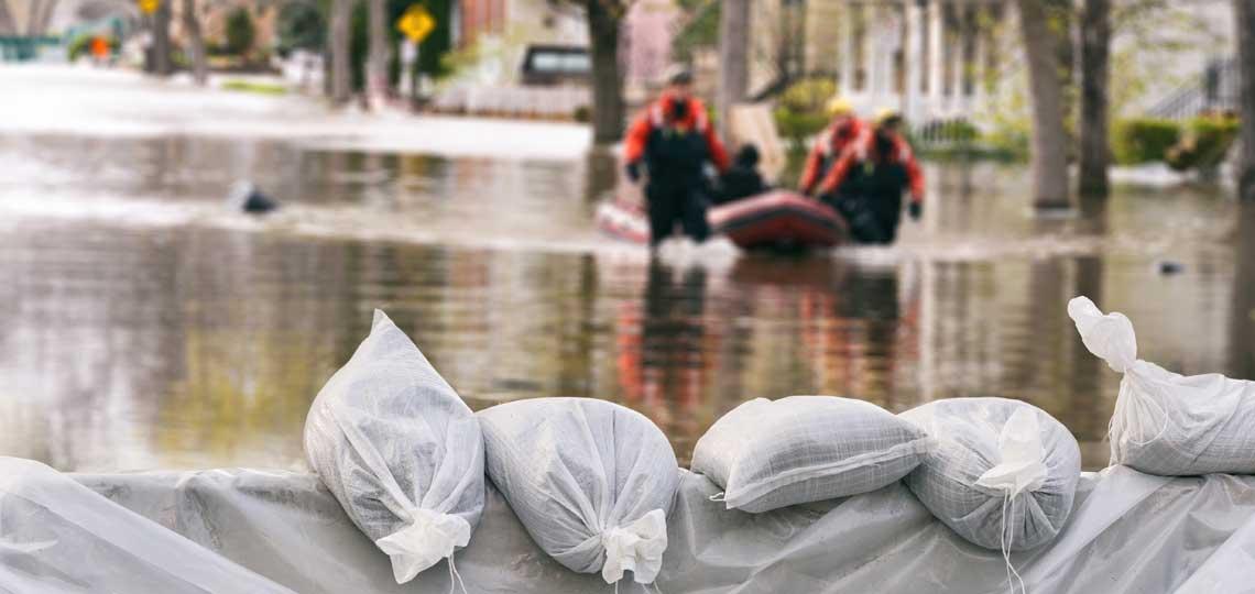 Flooding and sandbags