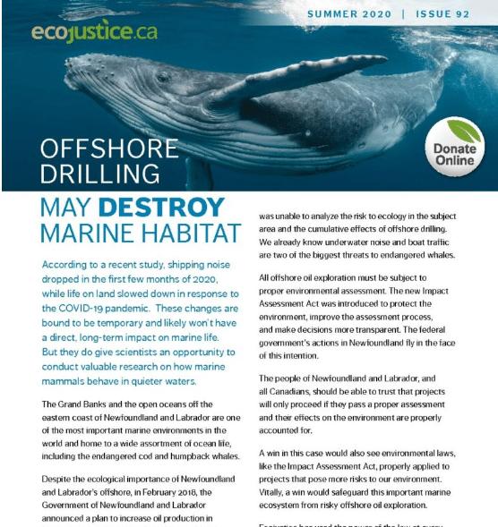 Ecojustice Summer 2020 Newsletter