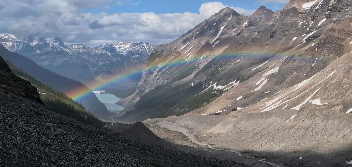 Rainbow spans valley near Lake Louise, Alberta